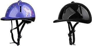 Baoblaze 2pcs Casque de Sécurité pour Équitation Sport Équestre Scolarité Protection Noir/Violet