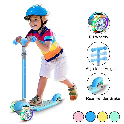 67i Kick Scooter for Kids 3 Wheel Scooter for Toddlers Girls & Boys 4 Adjustable Height Lean to Steer with PU Light Up Wheels for Children from 3 to 14 Years Old (Blue)