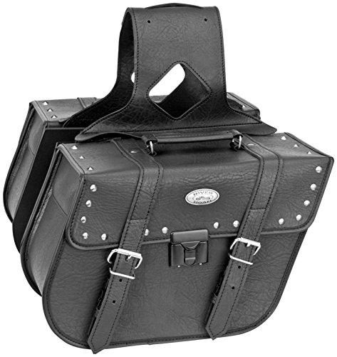 River Road Rigid Zip-Off Saddlebag with Security Lock - Slant Studded 108975