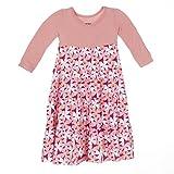KicKee Pants Little Girls Long Sleeve Tiered Dress , Apple Blossom , 2T