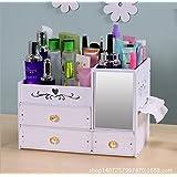 Lembo Dresser Cosmetic Storage Box With Mirror Desktop Drawer Shelf Plastic Organizers