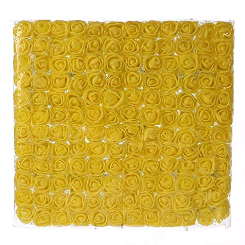 Mini Foam Rose 144pcs 2cm Artificial Flowers Bouquet in Bulk Wholesale for Crafts Multicolor Roses Party Birthday Home Decor Wedding Flower Decoration Scrapbooking Fake Rose Flower (Yellow) (Mini Rose Bouquet)