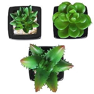 MyGift Set of 3 Modern Square Black Ceramic Artificial Succulent Planter/Mini Faux Potted Plants 2