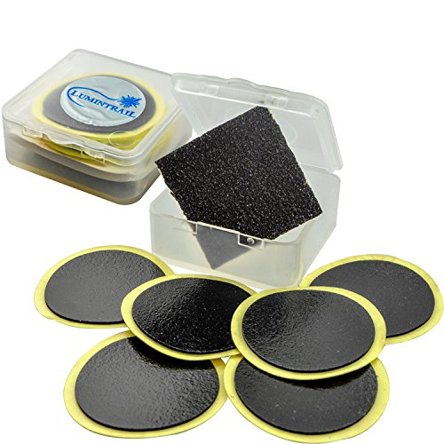 Lumintrail Glueless Bike Tire Patch Kit w/ 6 Adhesive Bicycle Tube Puncture Repair Patches, 1 Sandpaper, 1 Portable Case (2 Packs)