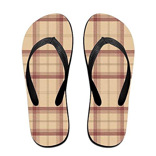 Unisex Retro Farmhouse Tartan Plaid Summer Strap Flip Flops Beach Slippers Platforms Sandal For Men Women Black 82NP9