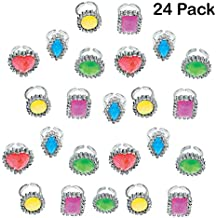 Colorful Rhinestone Rings 1 Inch - Pack Of 24 – Assorted Colors And Shapes Rhinestone Gem Rings - For Kids Great Party Favors, Bag Stuffers, Fun, Toy, Gift, Prize, Dress up Jewelry - By Kidsco