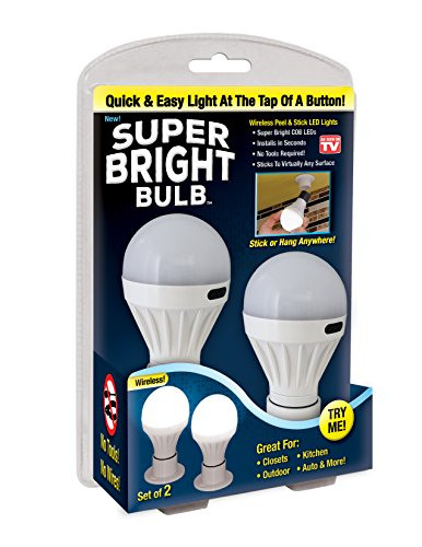 Super Bright Bulb: Portable Wireless Battery Operated Peel and Stick LED Lights; Tap Light, Touch Lights, Night, Utility, Under Cabinet, Shed, Kitchen, Garage, Basement by Super Bright