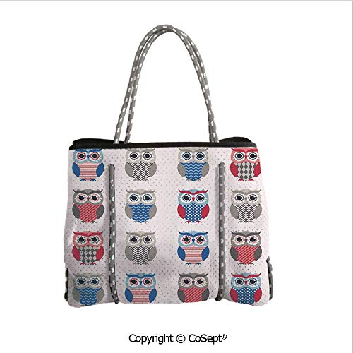Durable Tote Bag,Pattern of Owls with Zigzag Polkadots and Chevron Print Modern,For The Boat,Beach or Pool (14.9