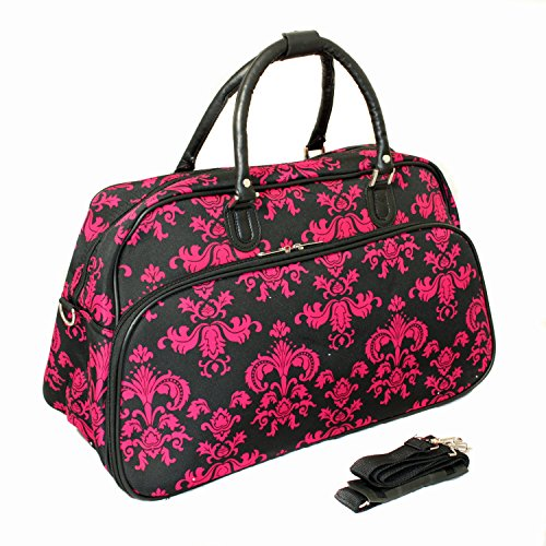 World Traveler 21-Inch Carry-On Shoulder Tote Duffel Bag, Black Pink Damask, One (Best World Traveler Shoulder Bags)