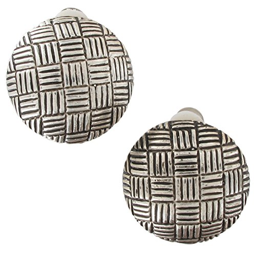 Silver Tone Abstract Circle Button Crosshatched Grid Black Enamel Clip Earrings For Women Set ()