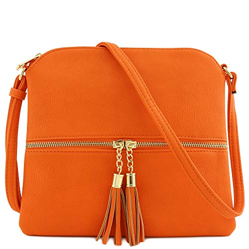 Lightweight Medium Crossbody Bag with Tassel (Orange) (Big Bag Crossbody)