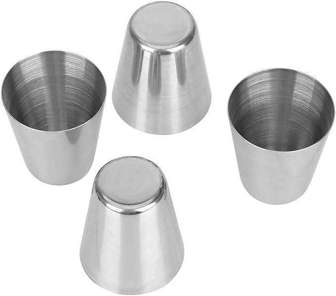 Vasos de chupito de acero inoxidable, 12 piezas de 1 onza vasos de chupito de vidrio mini portátil para vino, de viaje, para camping, para beber, taza de café, cerveza, con 3