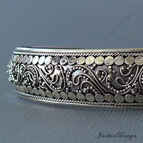 15mm Bali Ornate Handmade 925 Sterling Silver Bangle Cuff Bracelet JD176