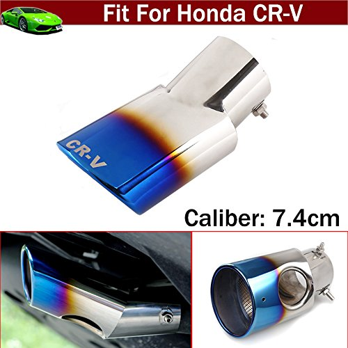 OEM 1pcs Blue Color Stainless Steel Universal Stainless Steel Curved Exhaust Muffler Tail Pipe Tip Tailpipe Extension Pipes Trim Custom Fit For Honda CR-V CRV 2008 2009 2010 2011 2012 2013 2014 2015 2016 2017 2018 TianTian Auto Part Co. Ltd