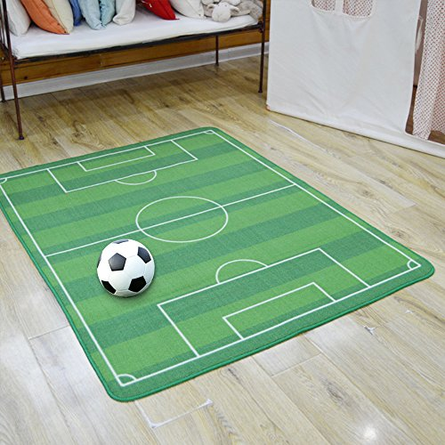 All Stars Soccer Ground Rug Kids Rug Boys Children's Play Football Pitch Green Rug Kids Living Room Carpet Play Carpet Kids Rugs Boy Girl Play Mat (Field Soccer Rug)