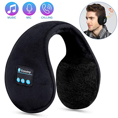 Bluetooth Ear Muffs for Men Women Headphones,TOPOINT Foldable Winter Ear Warmers Wireless Music Bluetooth Earmuffs with Microphone for Outdoor Sports, Travel, Black (Wireless Microphone Headband)