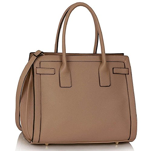 LEESUN LONDON - Bolsa mujer, color negro, talla Large CC - Nude