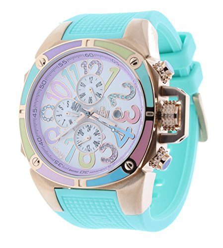 Technosport TS-200-1MC Women's Watch Swarovski Multicolor Dial Markers Mint Silicone Strap