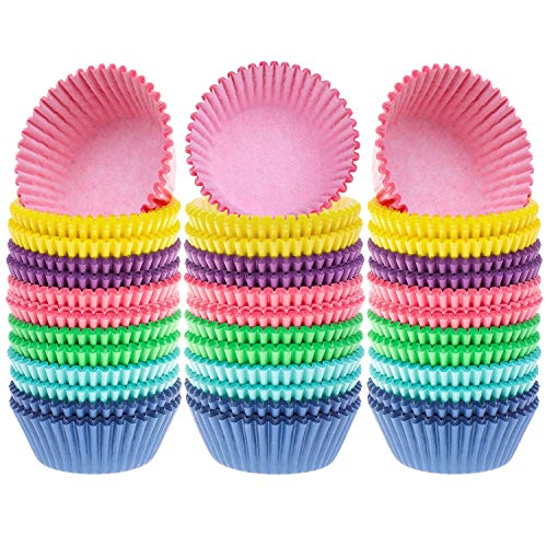 Selizo 600 Pcs Cupcake Liners Cupcake Wrappers Cupcake Paper Baking Cups for Cake Balls, Muffins, Cupcakes and Candies, Assorted Bright Colors