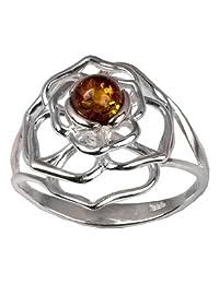 Sterling Silver Amber Celtic Flower Ring
