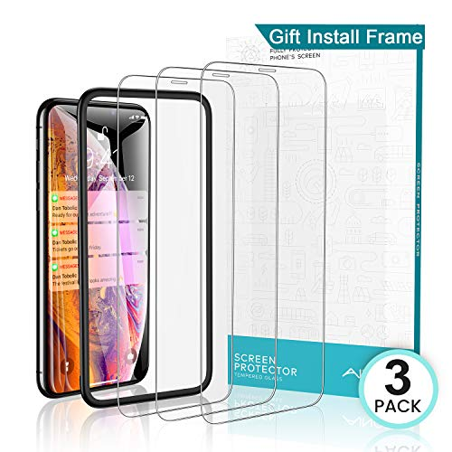 AINOPE [3 Packs] Screen Protector for iPhone X & iPhone Xs (Install Frame, Clear) iPhone X/Xs Tempered Glass Screen Protector [Force Resistant Up to 23 Pounds]Case Friendly for Apple 5.8 in(2017&2018)