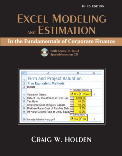 Excel Modeling and Estimation in the Fundamentals of Corporation Finance