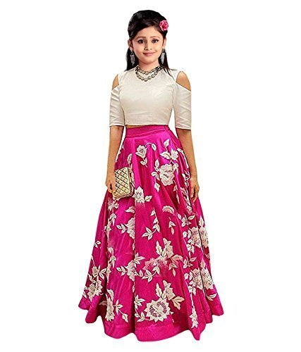 sat creation Kids Party Wear Pink Banglory Silk Semi-Stitched lengha cholifor Girl (_Free Size_8-14 year Girl SF_ pink lengha)