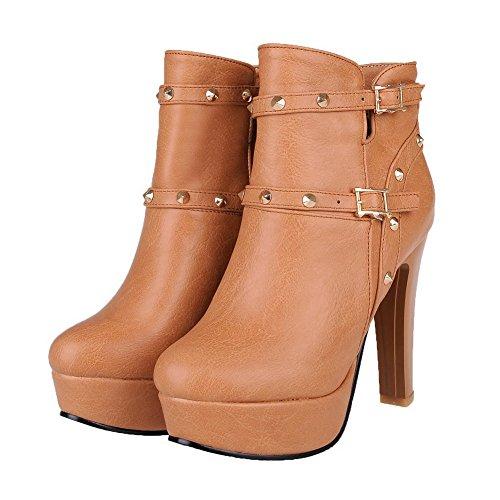 AgooLar Damen Niedrig-Spitze Reißverschluss Blend-Materialien Hoher Absatz Stiefel, Gelb, 38