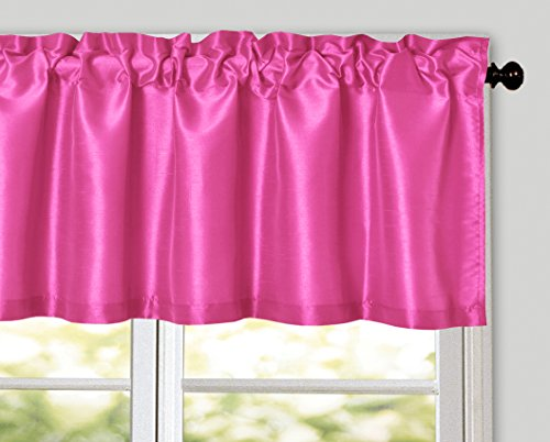 Aiking Home Solid Faux Silk window Valance, Hot Pink-Size 56