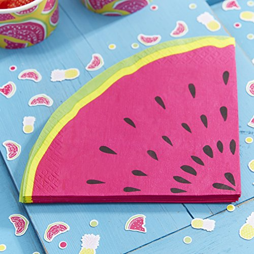 Ginger Ray Watermelon Slice Party Paper Napkins Pink - Summer -