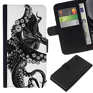 For Sony Xperia Z2 D6502 Case , Black White Photo Tentacle Monster - la tarjeta de Crédito Slots PU Funda de cuero Monedero caso cubierta de piel