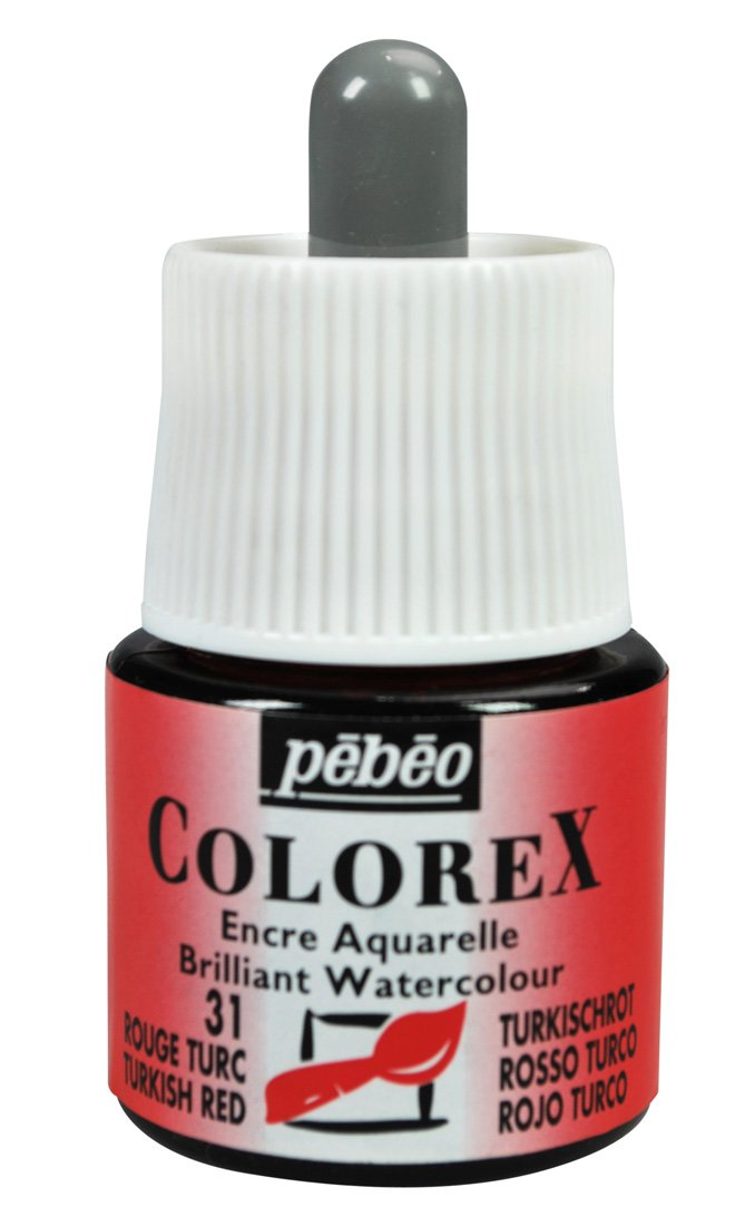 Pebeo Colorex, Watercolor Ink, 45 ml Bottle with Dropper - Turkish Red