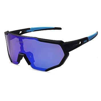 X-TIGER Gafas Ciclismo polarizadas con 3 Lentes Intercambiables UV 400 Gafas Deportivas,Corriendo,MTB Bicicleta Montaña TR-90 Gafas