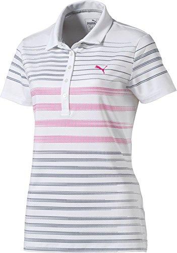 汗中国縞模様のプーマ トップス シャツ PUMA Women's Dot Stripe Golf Polo Peacoat [並行輸入品]