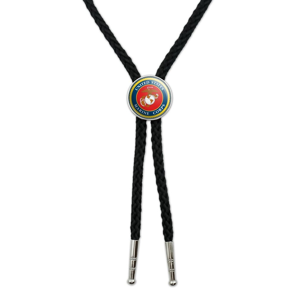 Marines USMC Logo Blue Red Gold Officially Licensed Western Southwest Cowboy Necktie Bow Bolo Tie GRAPHICS & MORE 00_TNLXUOJF_02