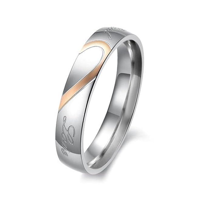 79f957a64af6  Partner alianzas de anillos de compromiso Anillos alianzas Acero  Inoxidable Amor Corazón