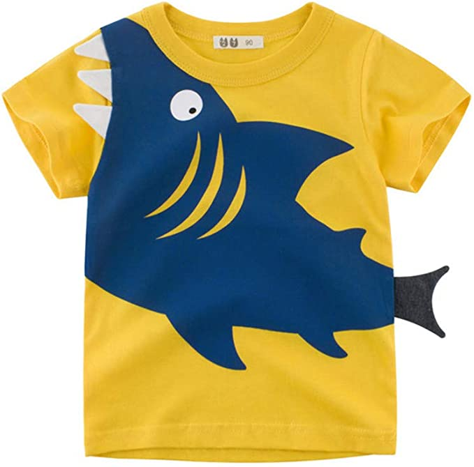 PinkLu ✿ Bebé Niño Primavera Verano Patrón de Dibujos Animados Tiburón O-Cuello Manga Corta Lindo Cómodo Niños Ropa: Amazon.es: Ropa y accesorios