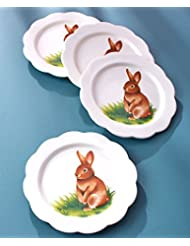The Lakeside Collection Set of 4 Salad Plates Bunny