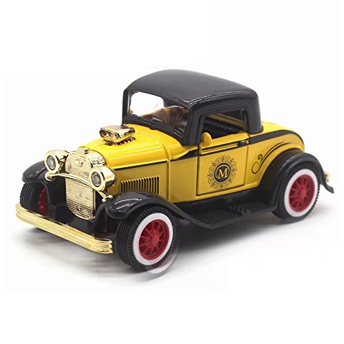 - LW Vintage Cars Retro Style 1:32 Hard Top Vintage Cars Scale Diecast Car Model Collection Light&Sound (Yellow)