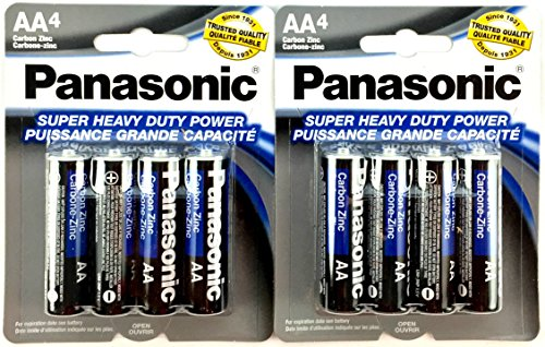 8pc Panasonic AA Batteries Super Heavy Duty Power Carbon Zinc Double A Battery 1.5v (Super Duty Heavy Carbon)