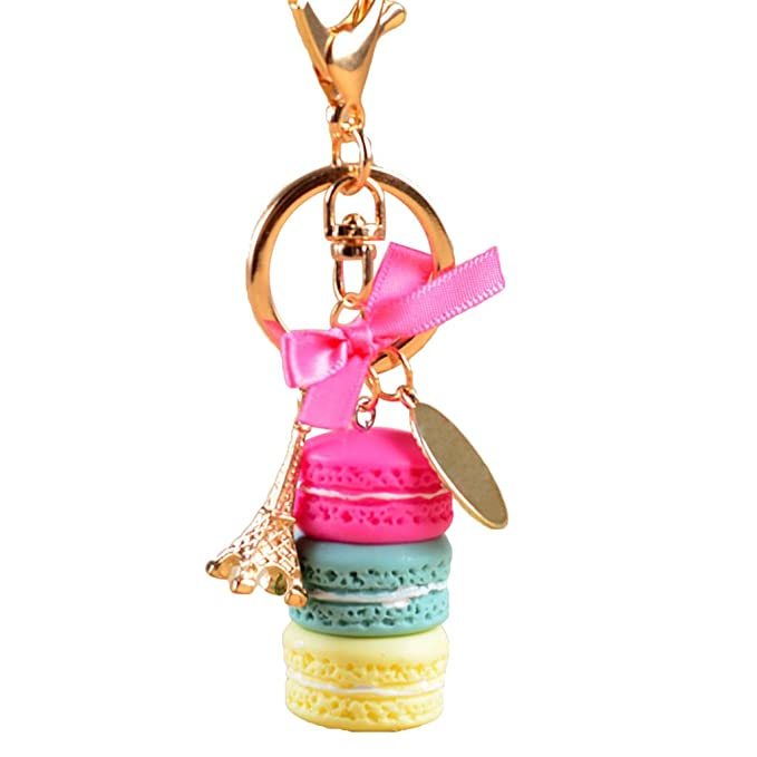 Amazon.com: catnew lindo macaron Eiffel Colgante Llavero ...