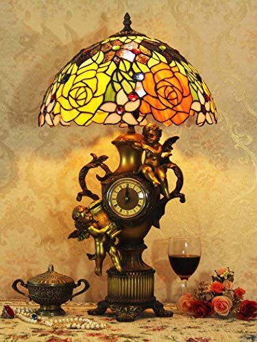 Angels Lamp Tiffany Table (GAOLIQIN Tiffany Style Table Lamps Retro Angel Desk Lamps Stained Glass Table Lights Living Room Bedroom Decoration Bedside Lamps,E27,40W)
