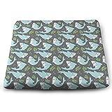 WEIPING LF Light Blue Cute Shark Memory Foam Seat Cushion, Chair Pad