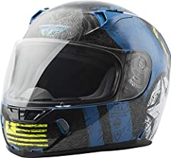 Distinct Name: Gloss Blue/Hi-VisGender: Mens/UnisexHelmet Category: StreetHelmet Type: Full-face HelmetsColor: Gloss Blue/Hi-VisSize: X-LargePrimary Color: BlueMeets or Exceeds DOT and Snell 2015. Durable and Lightweight Polycarbonate ABS All...
