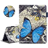 YiCTe 3D Colorful Painting Wallet PU Leather Tablet Case for Samsung Galaxy Tab A 10.5 SM-T590/T595/T597 2018,Card Slots,Stand,Magnetic Closure Safety,Folio Smart Cover,Auto Wake/Sleep,Blue Butterfly