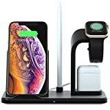 Wireless Charger Station Wireless Charging Stand 5 in 1 Charging Station for Iph One XS XS Max XR X 8 8Plus Watch Pencil Air Pod Watch Charger Not Include