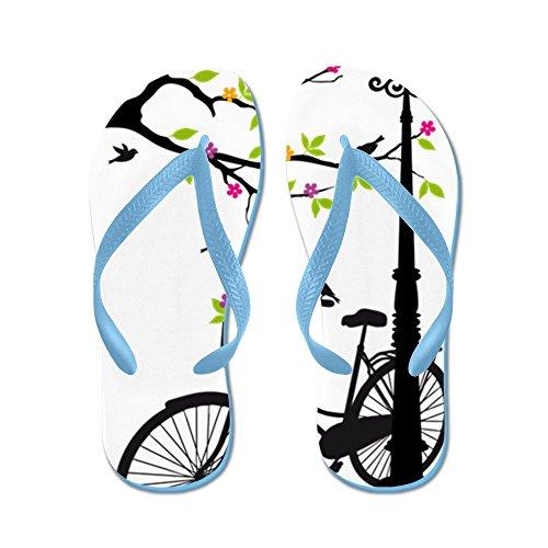 Cafepress Gammal Cykel Med Lampa, Blomkorg, B - Flip Flops, Roliga Rem Sandaler, Strand Sandaler Caribbean Blue