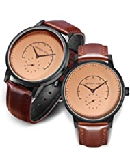 Couple Watches His and Hers Anniversary Gifts Retro Leather Strap Matching Wrist Watch 30M Waterproof with Quartz...