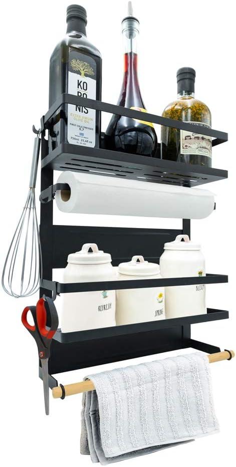 Darvish & Saints Magnetic Fridge Spice Rack Organizer [Large with 6 Utility Hooks] - 4 Tier Mounted Storage, Paper Towel Roll Holder, Kitchen Shelves, Pantry Wall, Laundry Room, Dorm, Garage [Black]: Home Improvement