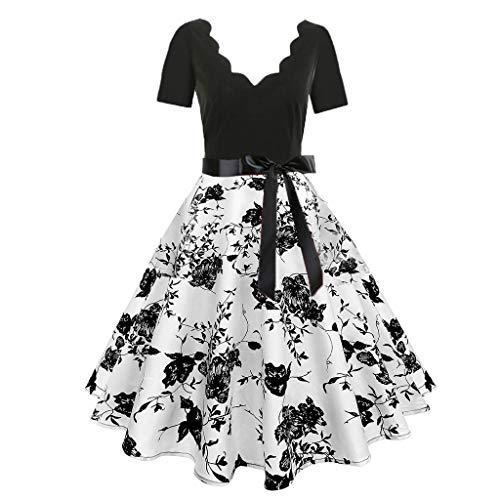 HYIRI Women's Short Sleeve Criss Cross Fashion Print Vintage Flare Dress]()